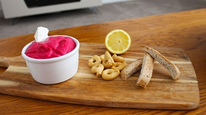 Feta and beetroot hummus