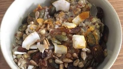 Quinoa, buckwheat and turmeric breakfast bowl