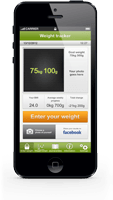 Iphone with Weight tracker app