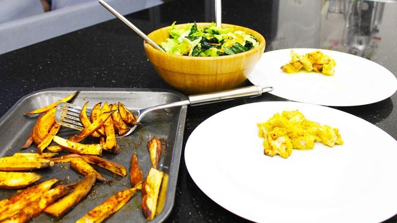 Recipe: Chicken kebabs, coleslaw and sweet potato fries