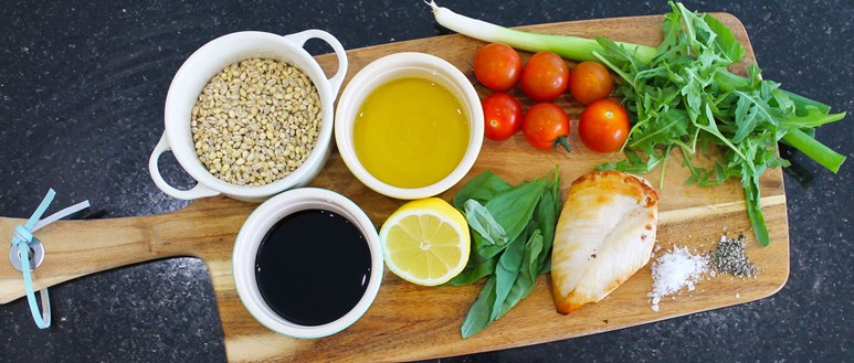 Ingredients for a zesty, herby pearl barley salad