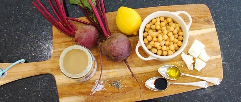 Ingredients for a colourful beetroot and feta hummus