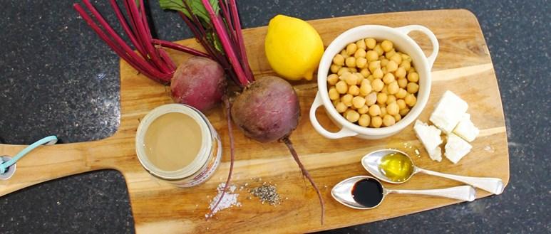 Feta and beetroot hummus
