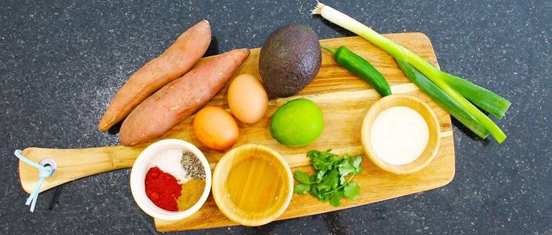 Ingredients for Mexican-style sweet potatoes with eggs and avocado
