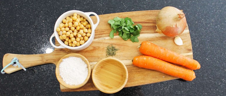 Ingredients for flavourful chickpea and carrot falafels