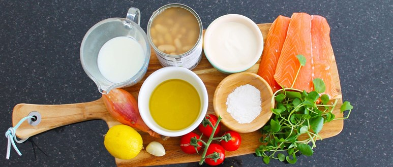 Ingredients for filling roasted salmon with watercress sauce and bean mash