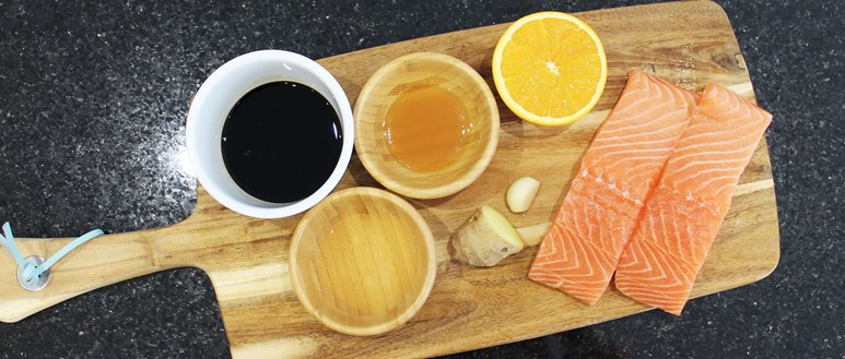 Ingredients for zesty sticky soy citrus baked salmon
