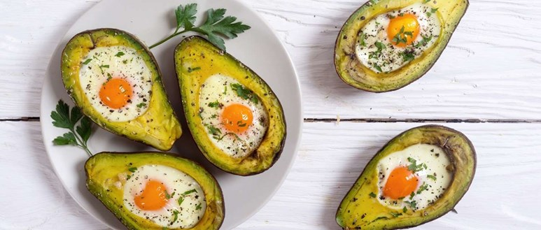Ingredients for baked egg and avocado