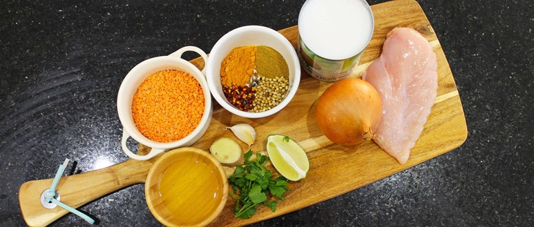 Ingredients for a creamy chicken korma with a lentil sauce