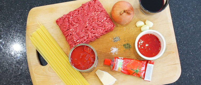 Ingredients for a hearty spaghetti bolognese