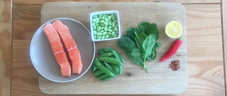 Grilled salmon with chilli-infused edamame