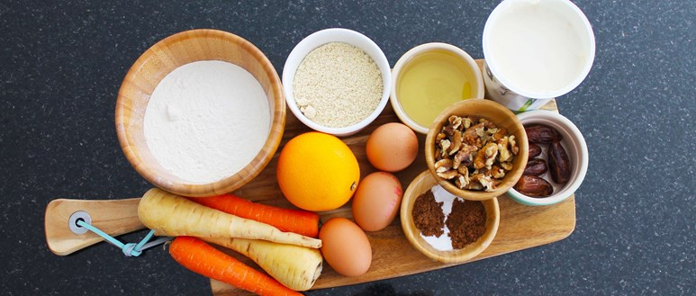 Ingredients for a tasty no-added sugar, date, carrot and parsnip cake