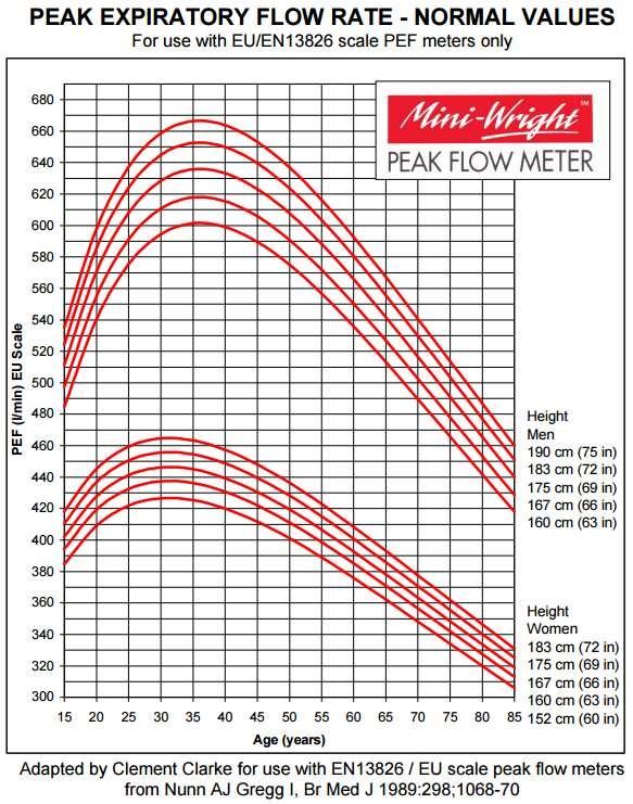 Peak flow normal values