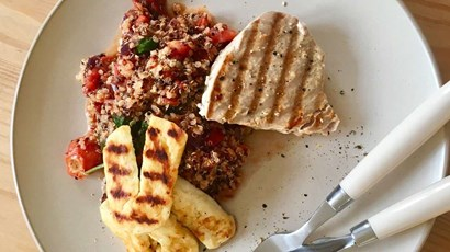 Tuna Steak with Tomato Salsa, Quinoa and Vegan Halloumi