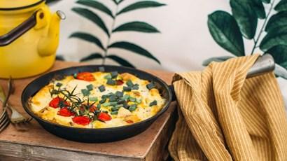 Butternut squash, feta and tomato open omelette