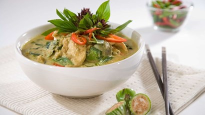 Thai chicken curry with brown sticky rice