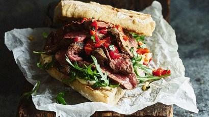Steak and onion cornbread sandwiches