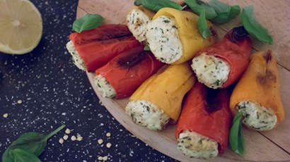 Baby stuffed peppers with lemon and basil ricotta