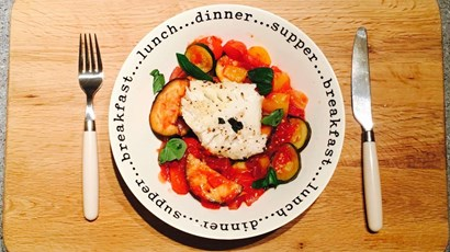 Baked cod with ratatouille