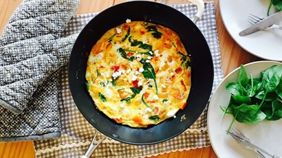 Recipe: Butternut squash, feta and tomato open omelette