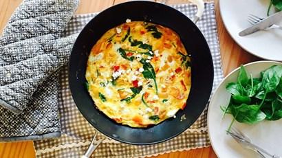 Recipe: Butternut squash, feta and tomato open omelette