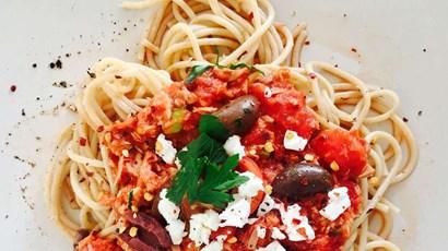 Tuna Puttanesca with Wholewheat Spaghetti