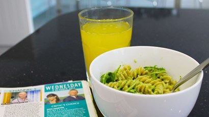 Recipe: Wholewheat pasta with rocket and almond pesto