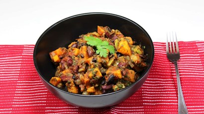 Sweet potato and spinach chilli