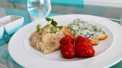Recipe: Roasted salmon with watercress sauce and bean mash